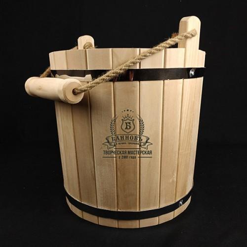 Подарочный набор для бани. Ведро липа 10 литров + липовый веник