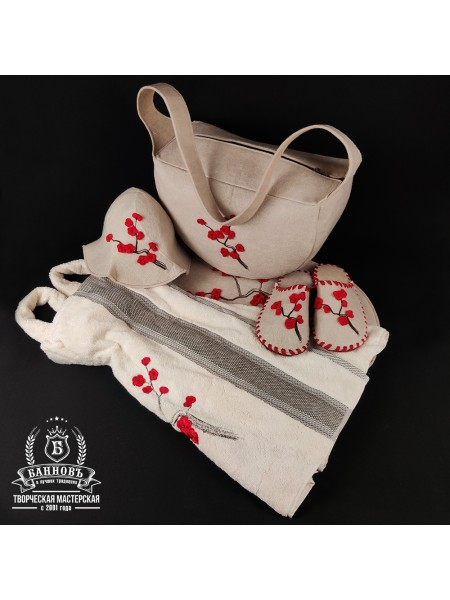 """Подарочный женский банный набор """"САКУРА"""". Комплект для бани и сауны"""
