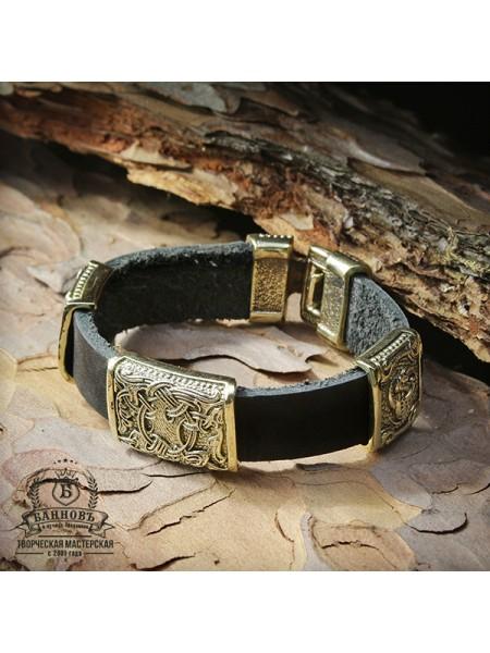 Кожаный браслет с 3-мя бронзовыми бусинами (1 большая, 2 маленькие)