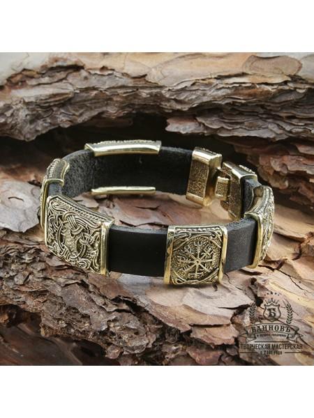 Кожаный браслет с 5-ю бронзововыми бусинами (3 большие, 2 маленькие)