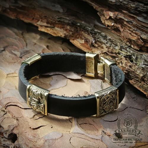 Кожаный браслет с 3-мя маленькими бронзовыми бусинами