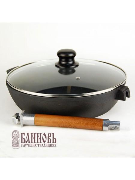 Сковорода чугунная 28 см с крышкой