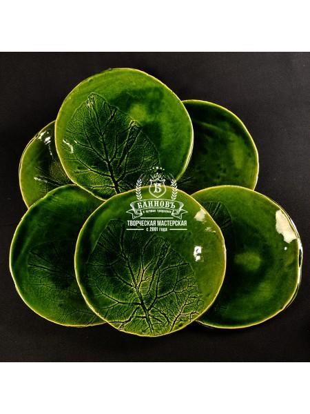 "Набор тарелок ""Флора"" (6 шт.), зеленый 22 см"