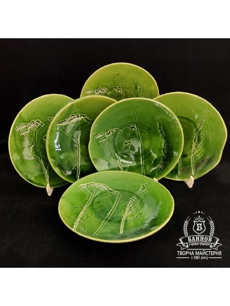 "Набор тарелок ""Флора"" (6 шт.), зеленый 26 см"