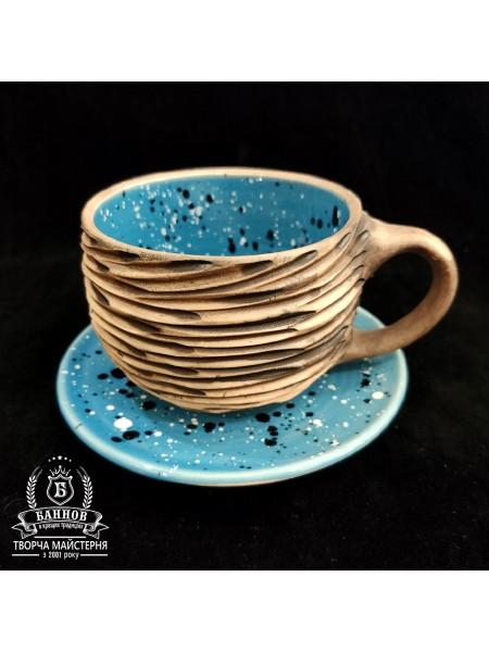 """Чашечка с блюдцем """"Галактика, фактура"""", 350 мл (голубой)"""