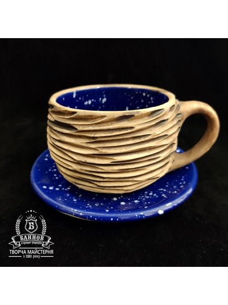 """Чашечка с блюдцем """"Галактика, фактура"""", 350 мл (синий)"""