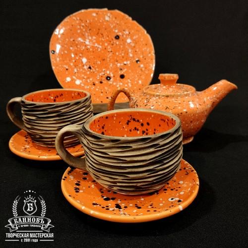 """Чайный набор """"Галактика фактура"""", оранжевый (6в1)"""