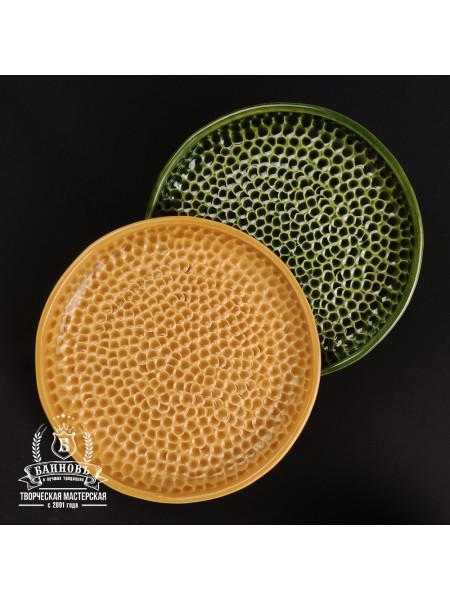 """Набор тарелок с высоким бортиком """"Пузырьки"""" (2 шт.), медово-зеленый"""