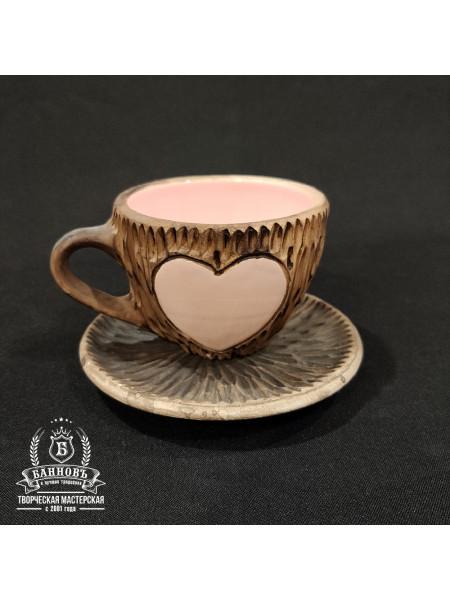 """Набор """"Сердечко"""" (2в1: чашечка + блюдце), розовый"""