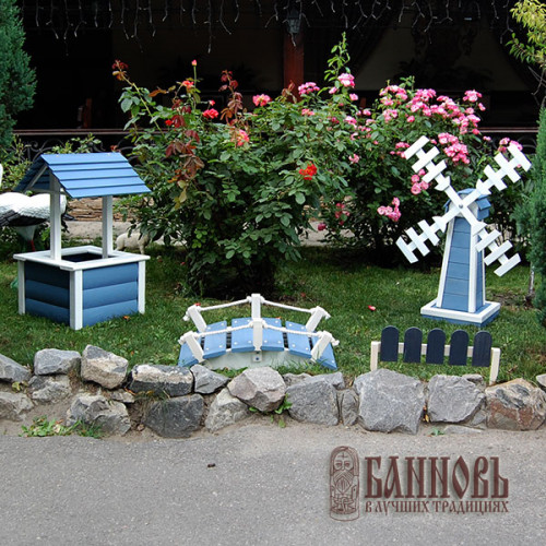Декоративный заборчик (20*50 см, бело-голубой)