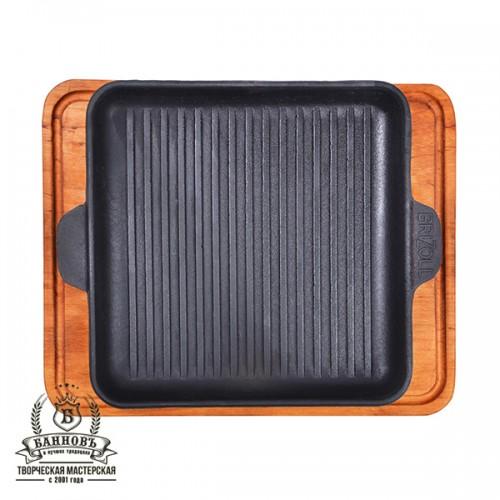 Сковорода квадратная гриль 18х18 см с доской