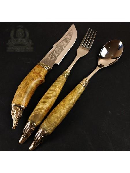 """Столовый набор """"Щуки"""" с охотничьим ножом"""