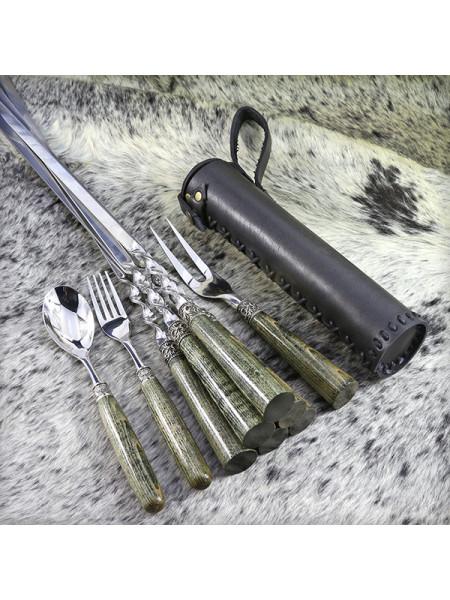 """Набор шампуров """"Бук"""" хаки + вилка + столовые приборы"""