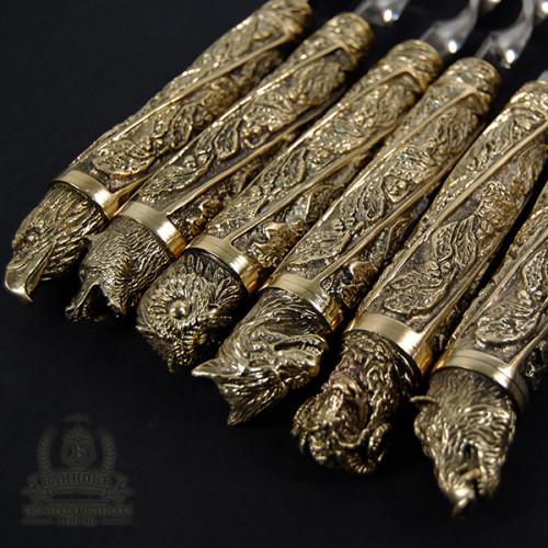 """Шампура """"Дикие звери"""" ручной работы бронза, в колчане"""