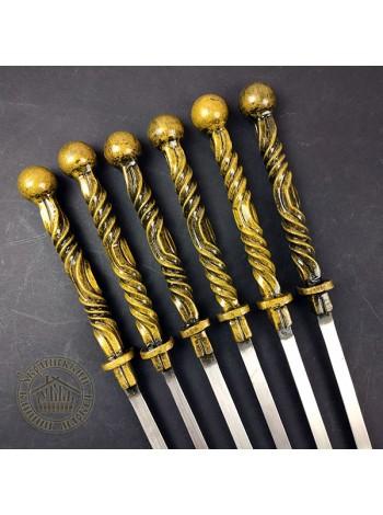 """Шампура """"Сармат"""" золото кованые, ручной работы в колчане"""