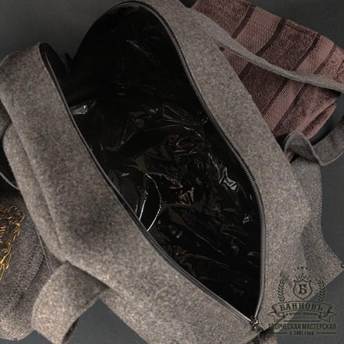 Подарочный банный набор «Профи», коричневый (полированная шерсть)