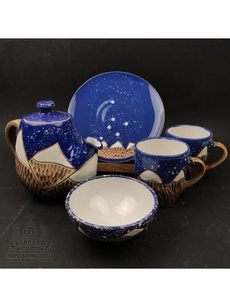 """Подарочный чайный набор """"Горы"""" 5в1, синий"""