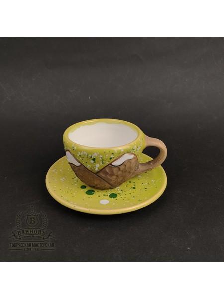 """Чашечка с блюдцем """"Горы"""", 150 мл (салатовый)"""