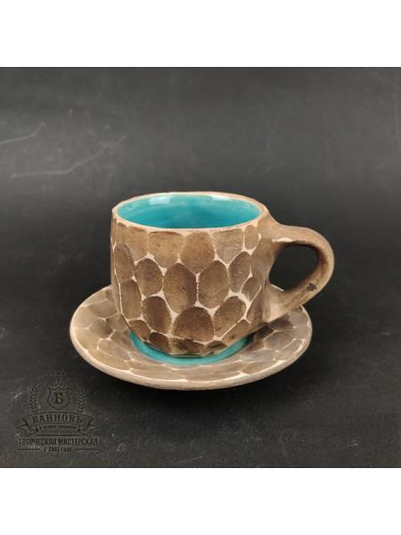 "Чашечка с блюдцем ""Грани"", 150 мл (синий)"