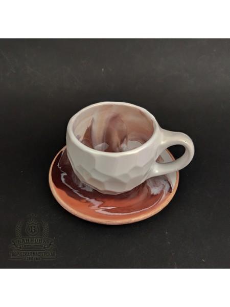 """Чашка с блюдцем """"Грани Колорит"""", 250 мл (коричневый)"""