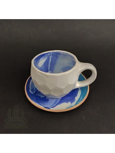 "Чашка с блюдцем ""Грани Колорит"", 250 мл (синий)"