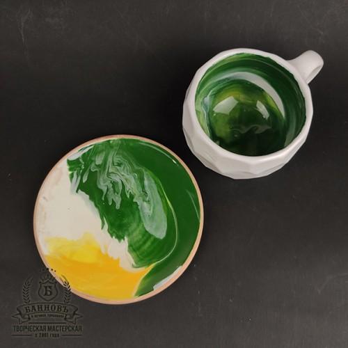 """Чашка с блюдцем """"Грани Колорит"""", 250 мл (зеленый)"""