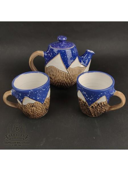 """Чайный набор """"Горы"""" 3в1, синий"""