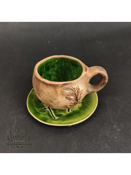 """Чашечка с блюдцем """"Флора"""", 150 мл (зеленый)"""