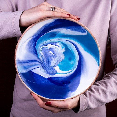 "Тарелка ""Колорит"", синяя (22 см)"